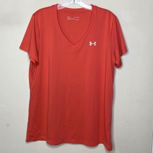 Under Armour XL Coral Pink Short Sleeve V Neck